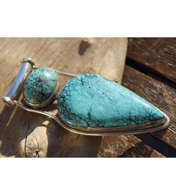 Pendentif argent bijoux indiens pierre de turquoise à Caen shantilight