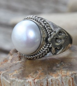 Bague argent ohm perle naturelle de culture shantilight