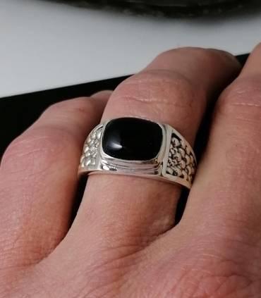 Bague argent bijou homme pierre naturelle onyx noire Shantilight
