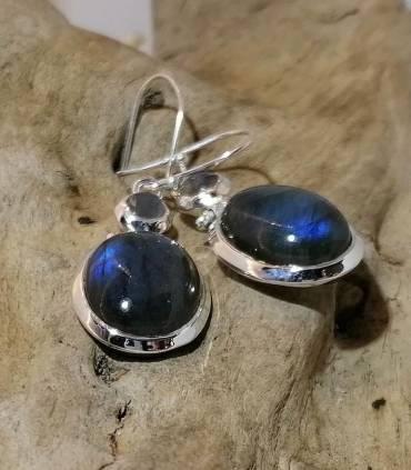 Boucles d'oreilles en argent pierres naturelles labradorites bleues
