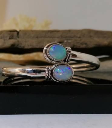 """Bracelet """"toi et moi"""", jonc argent pierre naturelle d'opale Shantilight"""