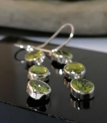 Boucles d'oreilles argent trio de pierres naturelles péridot Shantilight