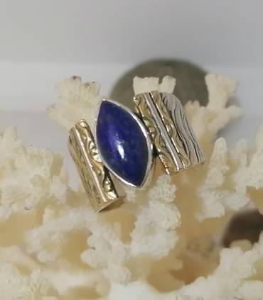 Bague ethnique chic argent plaqué or lapis lazuli Shantilight