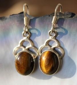 Boucles d'oreilles ethniques argent pierre naturelle shantilight