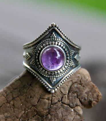 Bague ethnique bijoux argent oxydé tribal Améthyste Shantilight