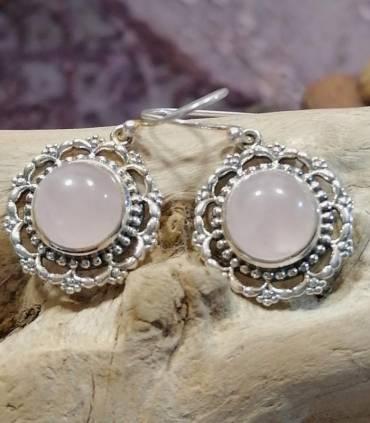 Boucles d'oreilles argent bijoux artisanaux indiens quartz rose