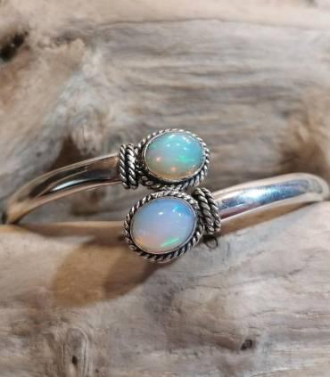 Bracelet jonc argent bijoux duo pierre naturelle d'opale Shantilight