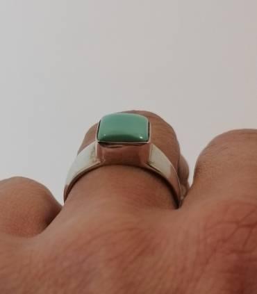 Bague chevalière argent pierre naturelle de turquoise Shantilight