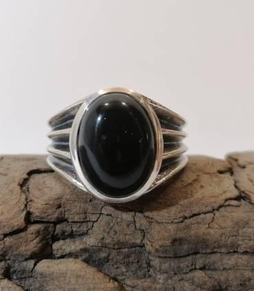 Bague chevalière bijoux homme argent onyx noire Shantilight