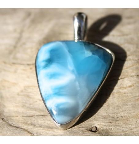 Pendentif argent bijoux pierre naturelle bleue ciel de larimar shantilight